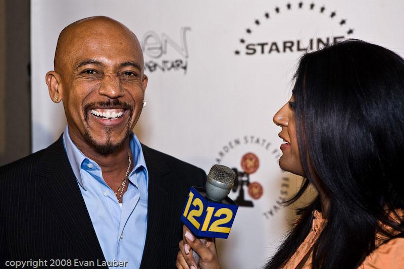 Montel Williams at 4Chosen event being interviewed News 12 Starline Films event