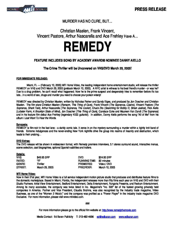 Remedy Press Release